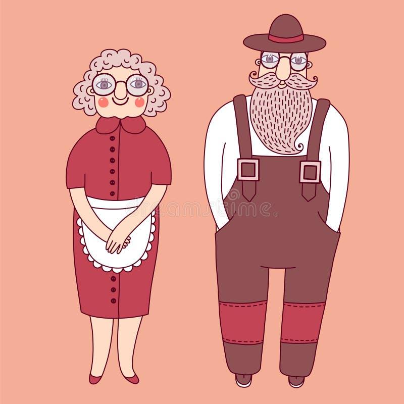 Elderly couple. Grandparents. Vector illustration royalty free illustration