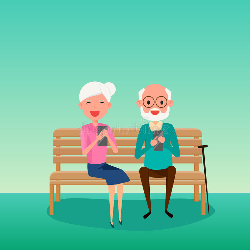 Elderly couple. Happy Grandparents day. Grandparents using smart phone sitting on a bench in the park. stock illustration