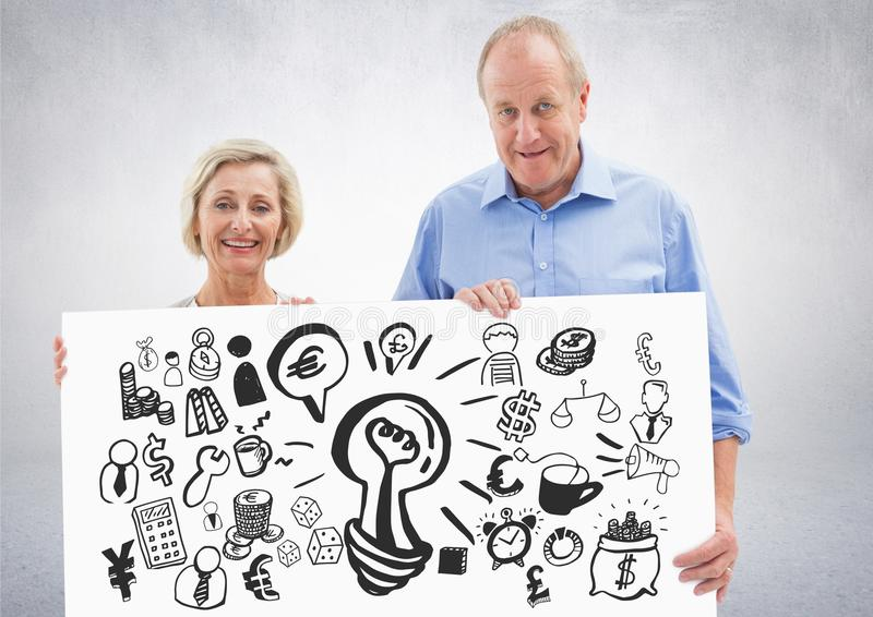 Elderly couple holding card with ideas money and business graphic drawings stock illustration
