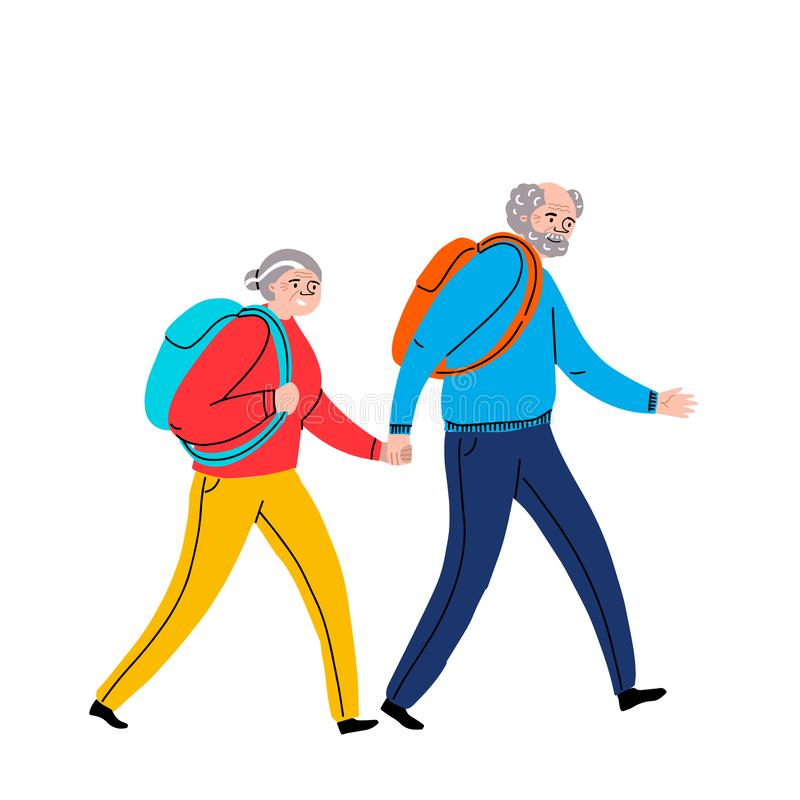 Elderly couple holding hands are going camping .Grandmother and grandfather together. Grandparents. A man and a woman of old age. royalty free illustration