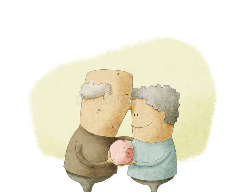 Elderly couple holding a piggy bank stock illustration