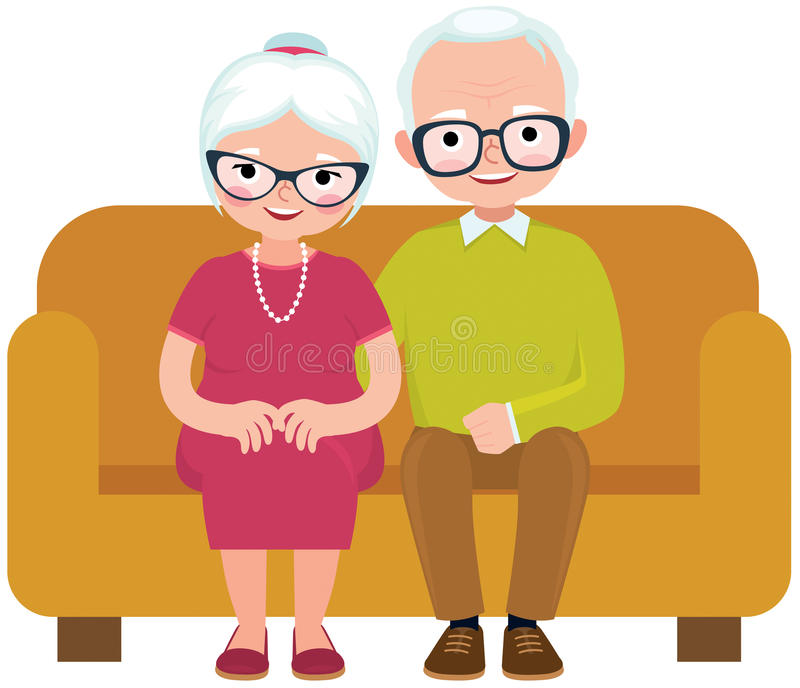Elderly couple husband and wife sitting on couch embracing. Vector illustration stock illustration