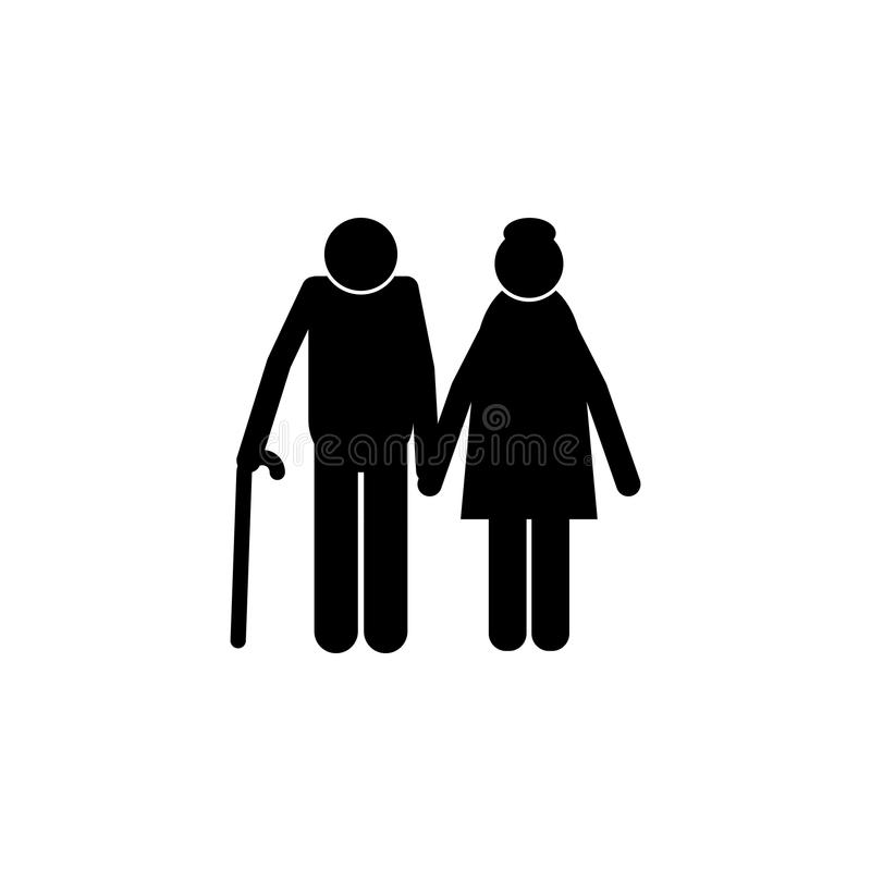 Elderly couple icon. Element of a happy family icon. Premium quality graphic design icon. Signs and symbols collection icon for we. Bsites, web design, mobile stock illustration
