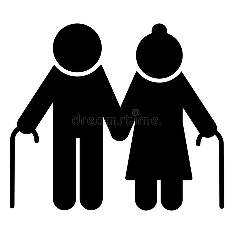 Elderly couple icon. Old people silhouette symbol. Vector. Elderly couple with walking stick icon. Old people silhouette symbol. Vector illustration vector illustration