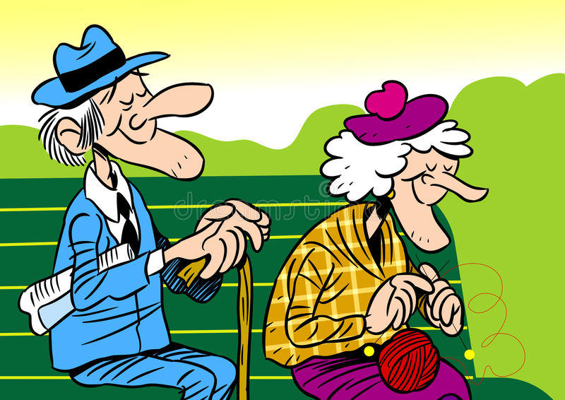 Elderly couple. The illustration shows an elderly couple. It is an old man and woman, they sit on the bench. Illustration done in cartoon style, on separate stock illustration