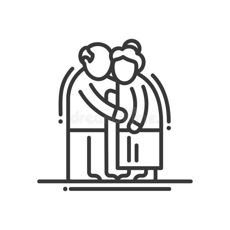 Elderly Couple - line design single isolated icon. Elderly couple - vector line design single isolated icon, pictogram. Old man and woman standinng together vector illustration