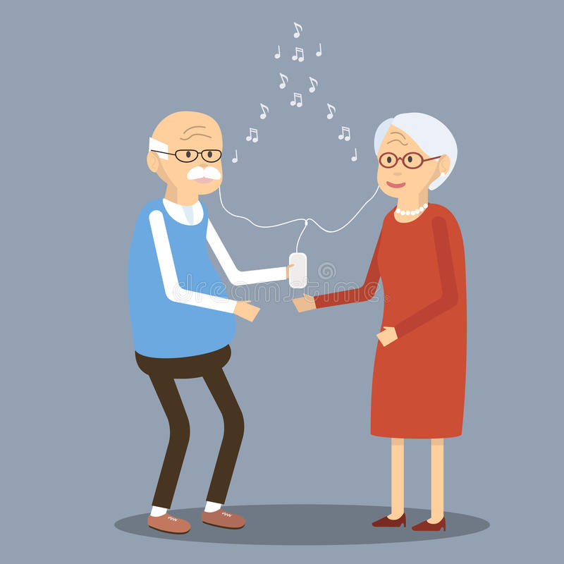 Elderly Couple Listening to Music in the Smartphone. Old people using modern technology. An elderly man and woman smiling listening to music through earphones stock illustration