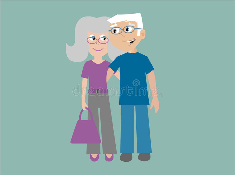 Elderly couple in love. Happy smiling elderly couple with their arms around each other stock illustration