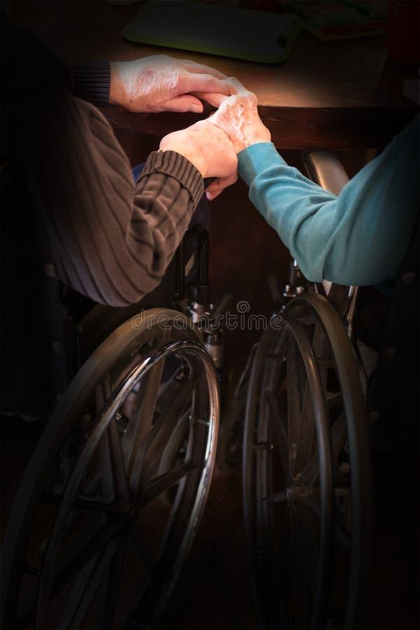 Elderly Couple Love Hold Hands stock image