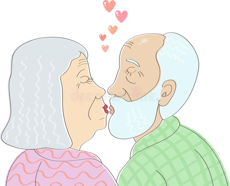 Elderly couple in love kissing. Elderly couple in love with gray hair kissing vector illustration