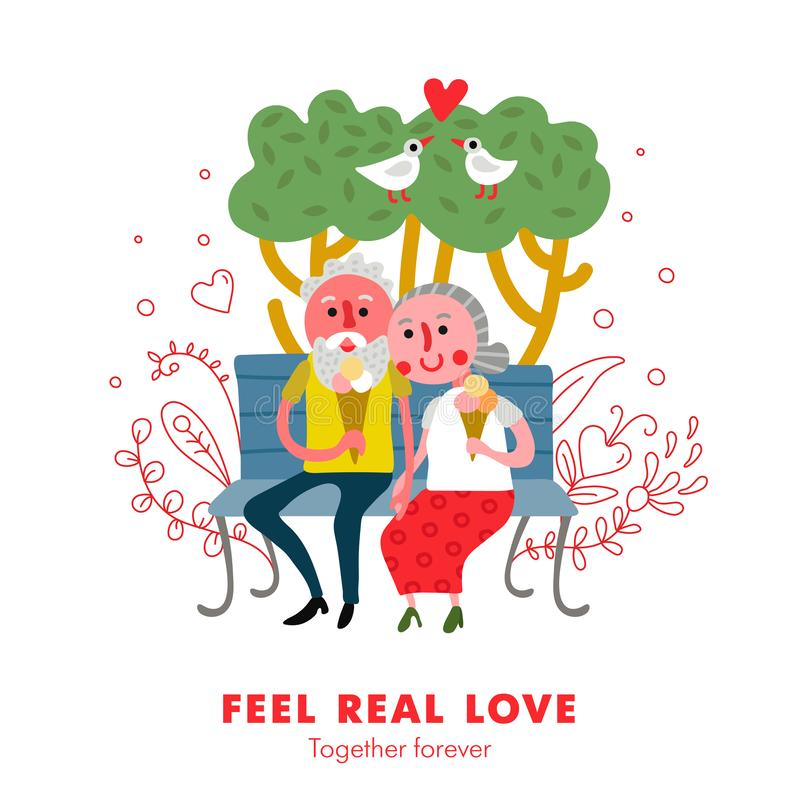 Elderly Couple Love Poster. Elderly people healthy loving relations funny cartoon poster with couple outdoor together eating ice cream vector illustration stock illustration
