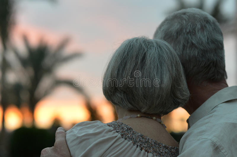 Elderly couple in love stock photos