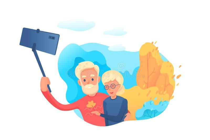 Elderly couple making selfie vector illustration isolated on white background. Elderly couple making selfie vector illustration. Bearded old man holding selfie royalty free illustration