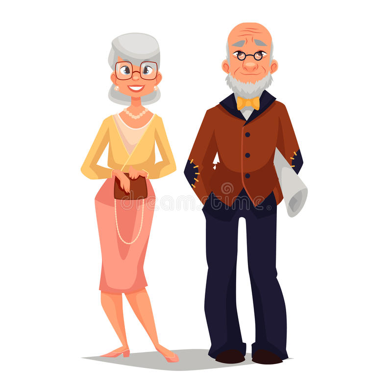 Elderly couple man and woman. Vector comic cartoon illustration isolated on white background, beautiful thin and well-groomed old man and an old woman, a happy stock illustration