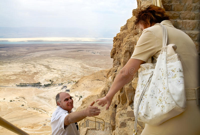 Elderly couple overlooking Dead Sea stock photography
