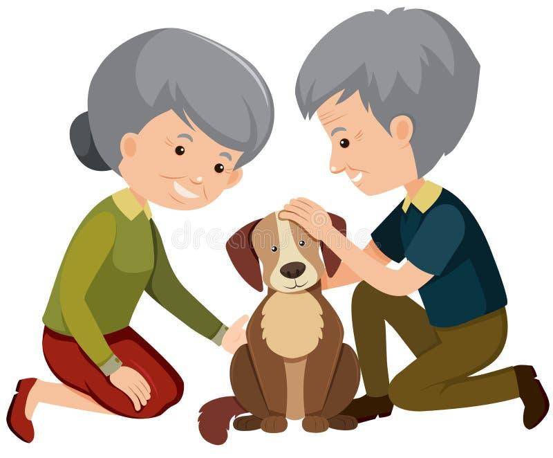 Elderly couple patting a dog. Illustration royalty free illustration