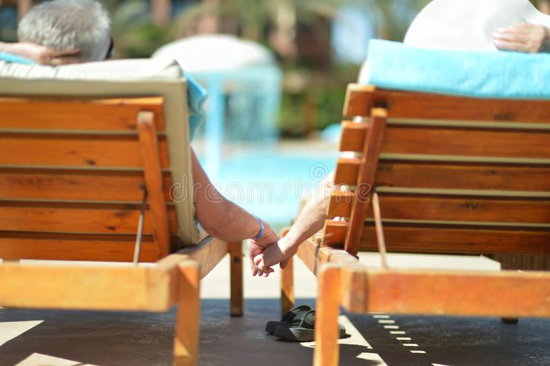 Download Elderly couple at pool stock image. Image of look, berth - 40159135