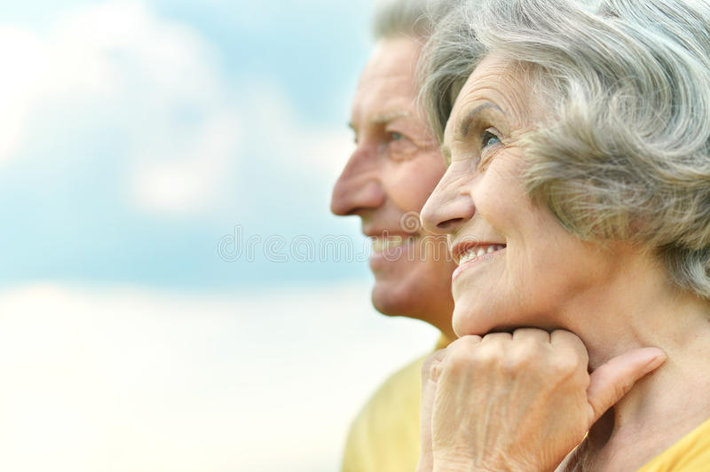 Elderly couple relaxing stock photo