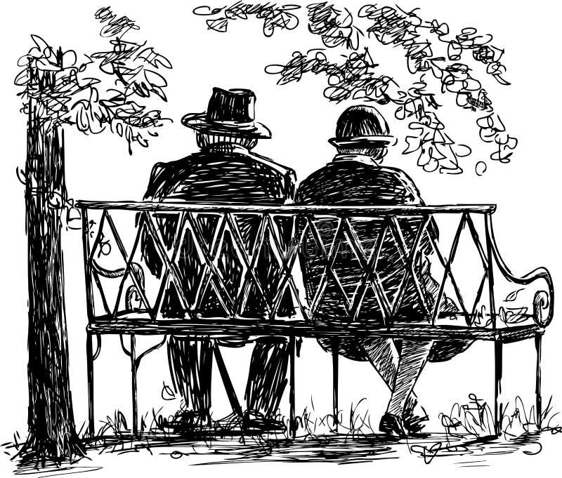 Elderly couple resting on a park bench stock illustration