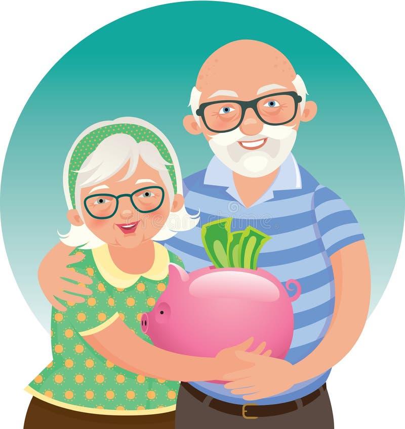 Elderly couple retired. Stock illustration Elderly couple retired royalty free illustration