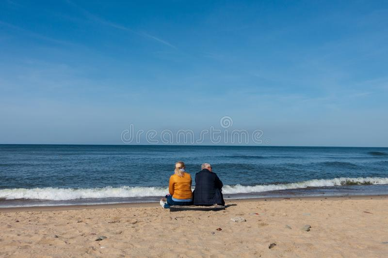 Elderly couple sitting on the sea shore with small dog, rear view stock photo