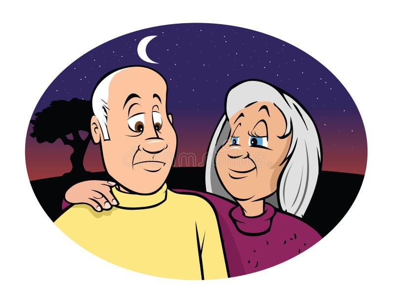 Elderly couple solace. Cartoon illustration of an elderly couple solace royalty free illustration