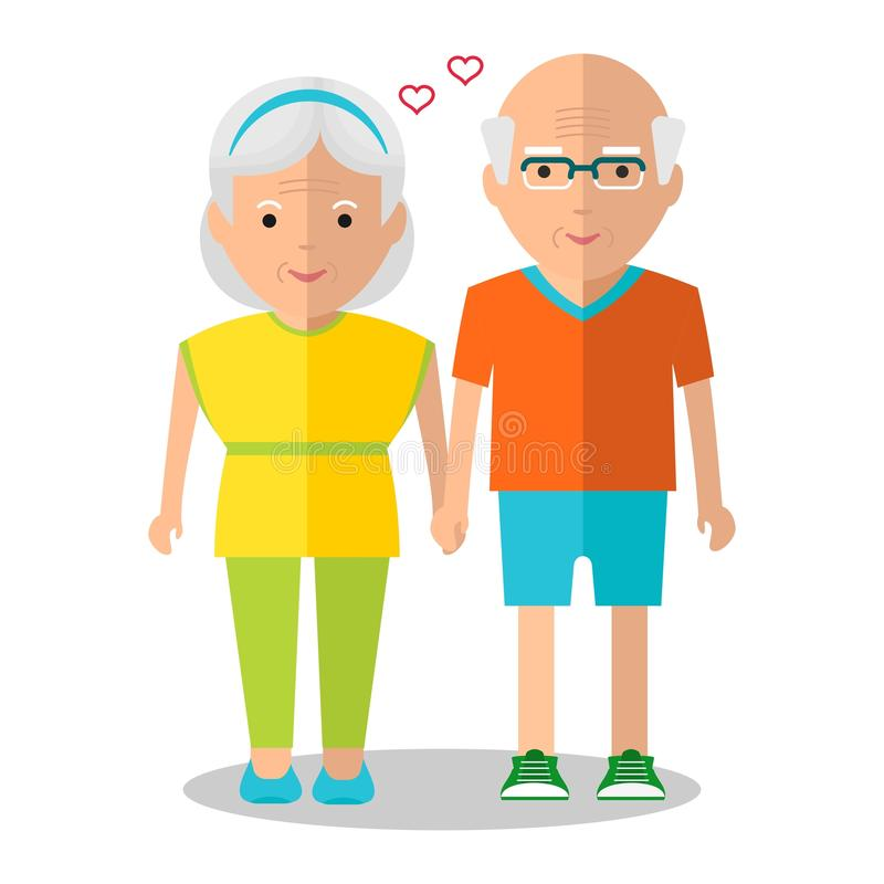 Elderly couple sport walk. Elderly people walking. Holding hands couple. Love in the family. Healthy lifestyle.Objects on a white background. Flat vector vector illustration