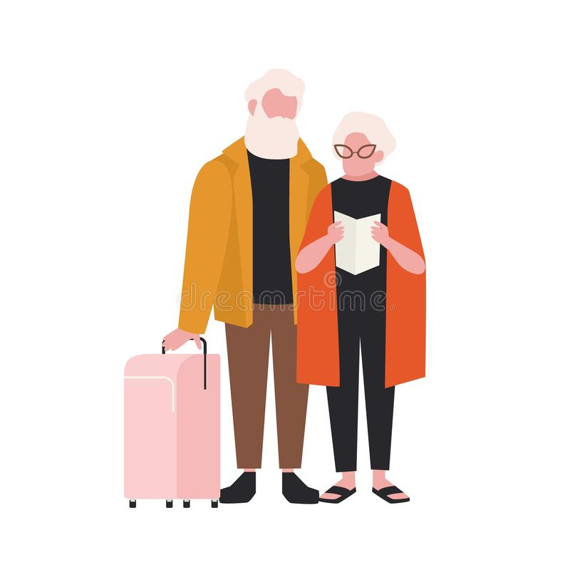 Elderly couple with suitcase isolated on white background. Pair of old man and woman travelling with luggage. Grandmother and grandfather in trip or journey vector illustration