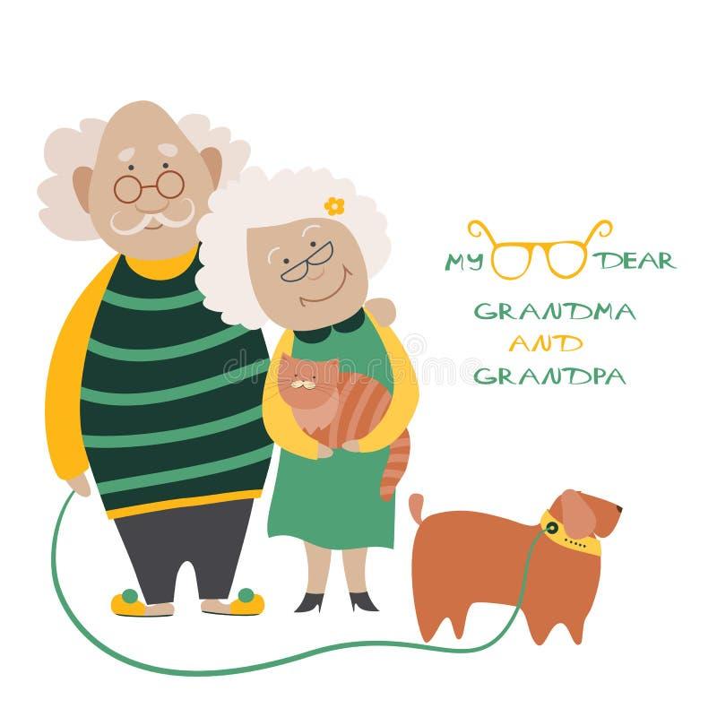Elderly Couple With Their Dog. Illustration Featuring an Elderly Couple With Their Dog royalty free illustration