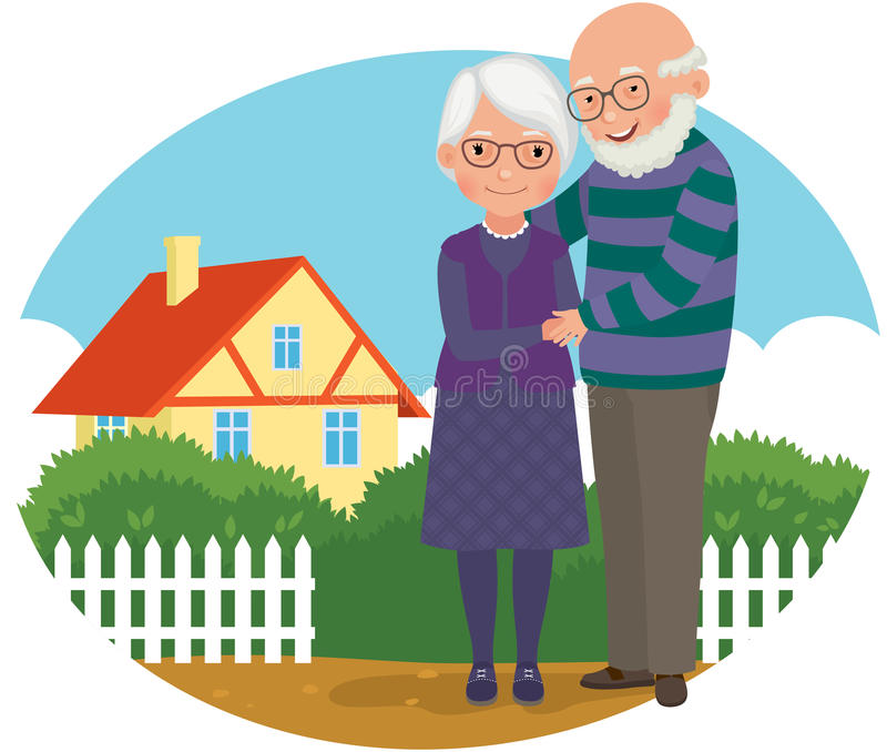 Elderly couple at their home stock illustration