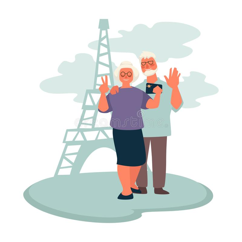 Elderly couple traveling to Paris, grandparents taking selfie with Eiffel tower. Senior couple traveling after retirement, grandparents taking selfie with Eiffel vector illustration