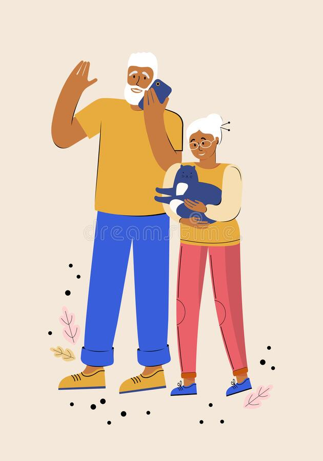 Elderly couple. Two happy senior lovers spend time together. Elderly people on a walk with a pet. Man is talking on the phone. Woman holds a funny cat in her royalty free illustration