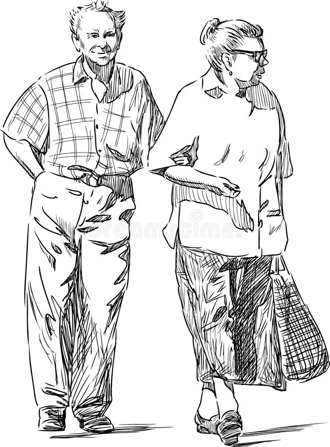Elderly couple. Vector drawing of an elderly couple at walk vector illustration