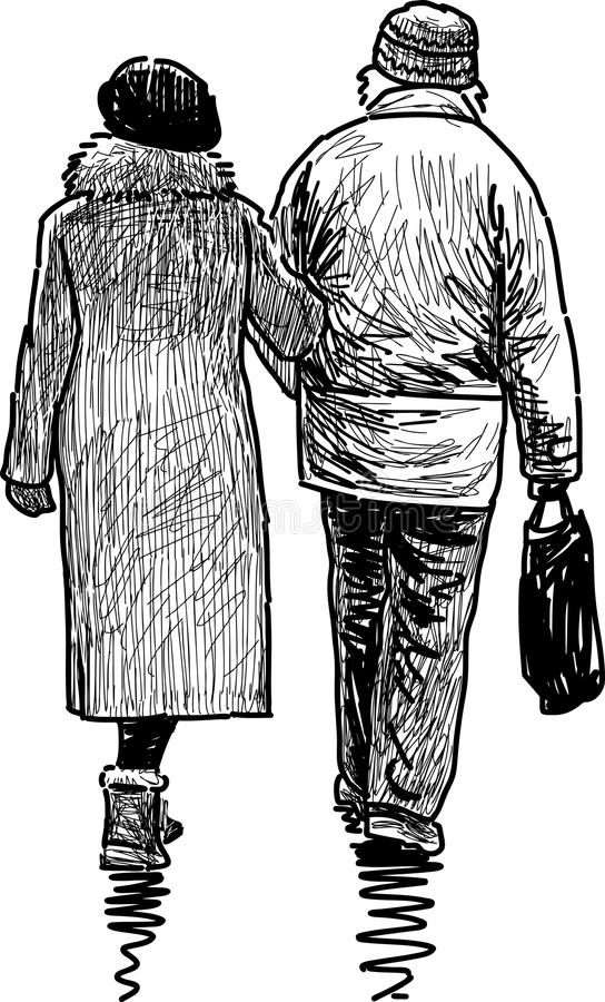Elderly couple. Vector drawing of the elderly couple at a walk royalty free illustration