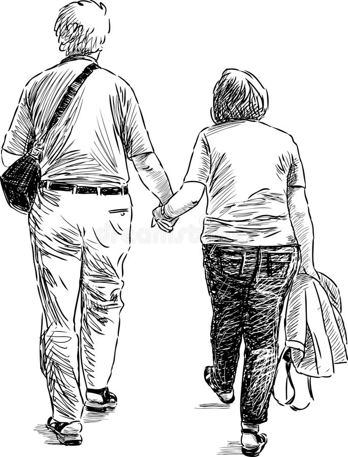 Elderly couple at walk. Vector drawing of a walking elderly couple royalty free illustration