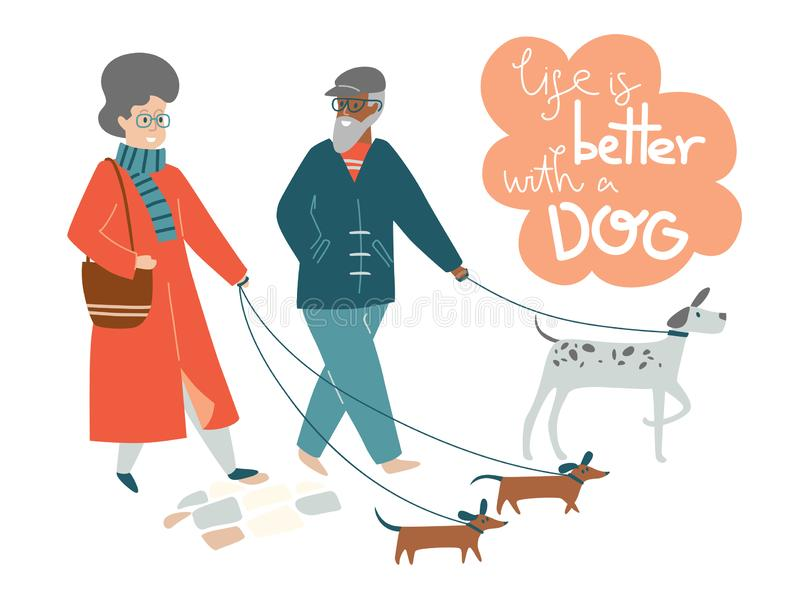Elderly couple walking dogs together. life is better with a dog stock image