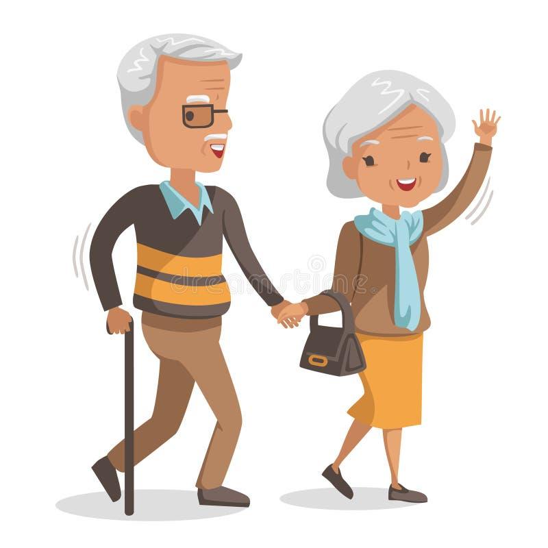 Elderly couple walking royalty free illustration
