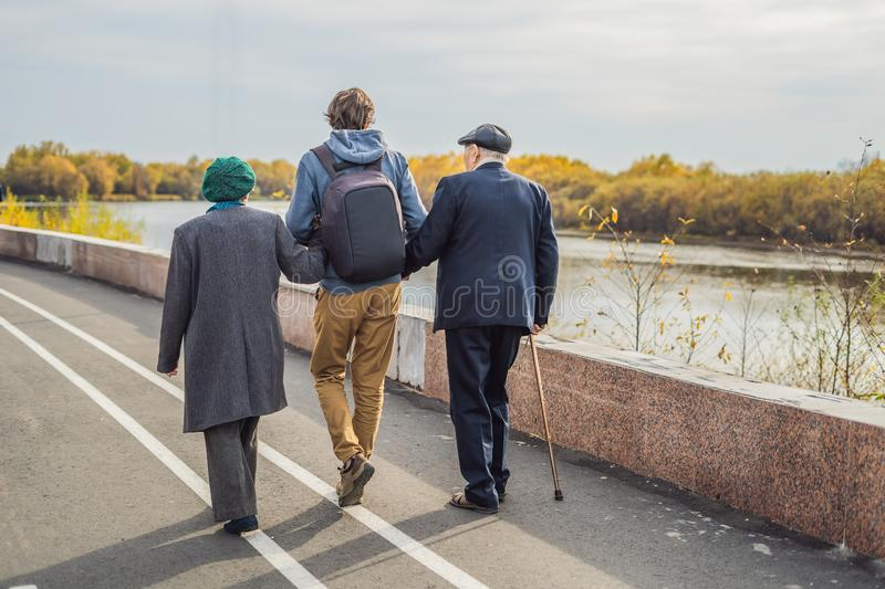 An elderly couple walks in the park with a male assistant or adult grandson. Caring for the elderly, volunteering royalty free stock images