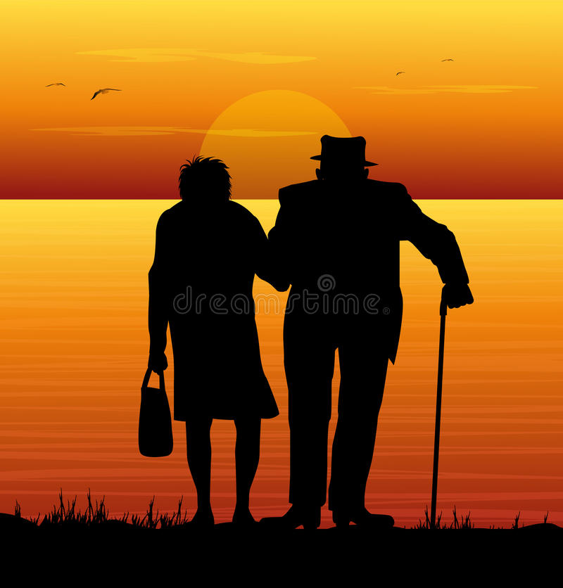 Elderly couple watching the sea. In the sunset royalty free illustration