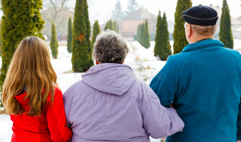 Elderly couple and young caregiver. Walking in the park in wintertime stock image