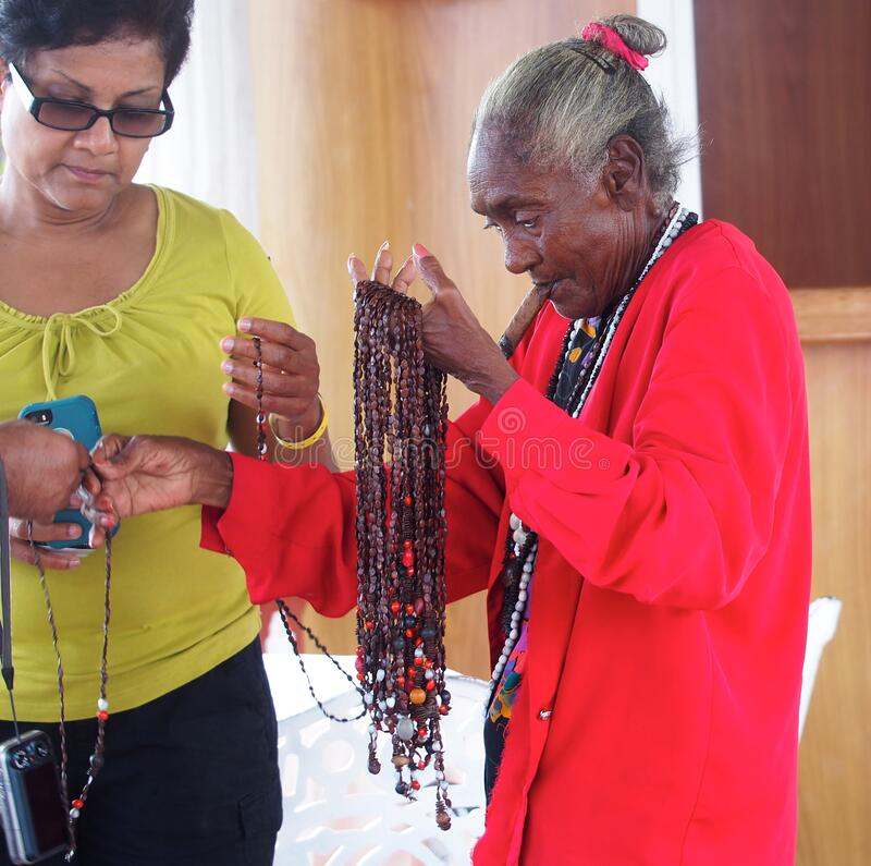 Free Elderly Cuban Woman Selling Necklaces In Holguin Stock Photos - 170880383
