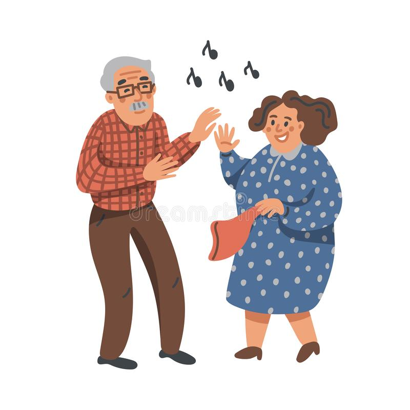 Elderly dancing couple. Old man and woman have fun on a party. Nursing home. Senior people flat Vector illustration. royalty free illustration