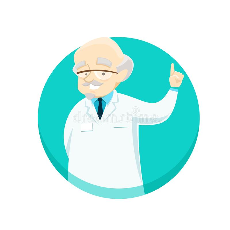 Elderly doctor gives advice holding his index finger up stock images