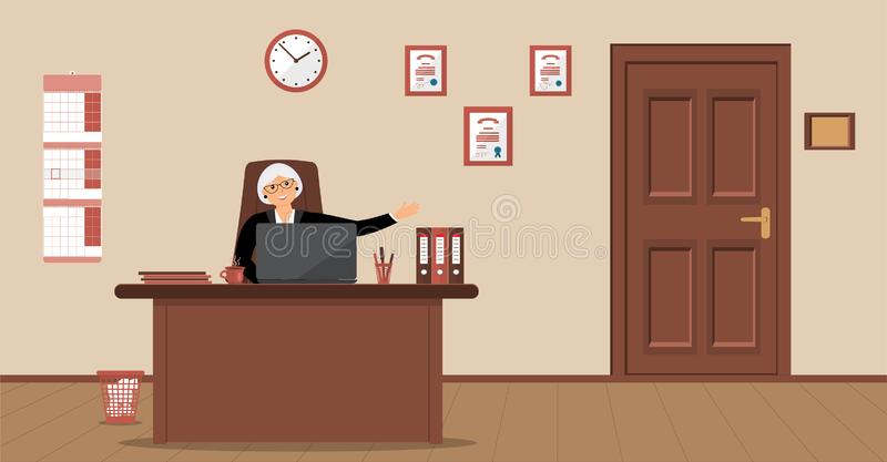 An elderly elegant secretary woman sitting in the workplace in a reception area on a cream background royalty free illustration
