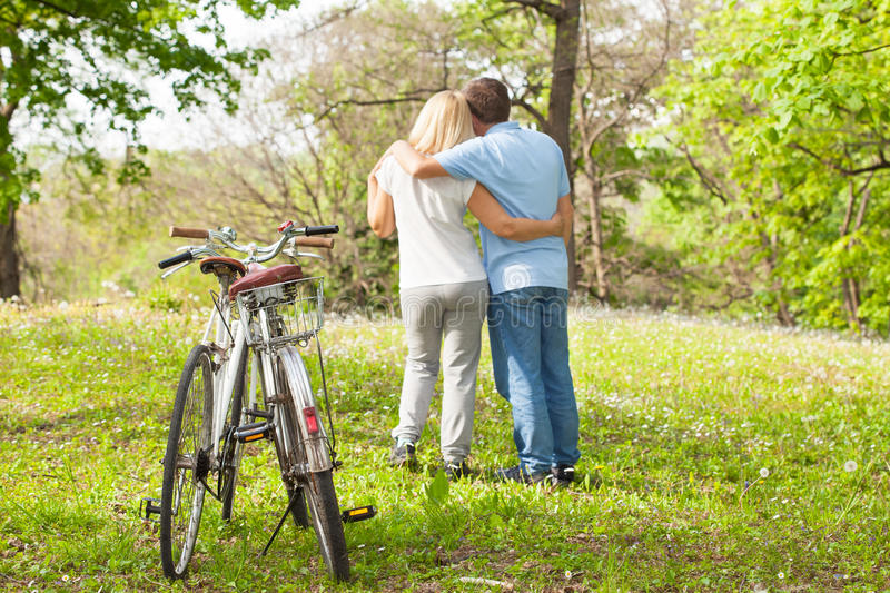 Elderly embraced couple royalty free stock images
