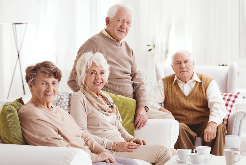 Elderly friends together royalty free stock photos