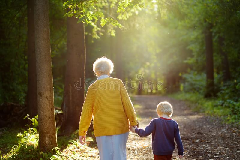 Elderly grandmother and her little grandchild walking together in sunny summer park. Grandma and grandson. Two generations of family stock photos
