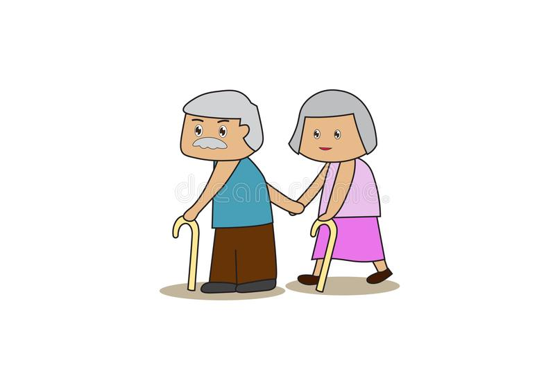 Elderly grandmother and grandmother use stick. Couple holding hands,Take care of each other. Flat cartoon and concept of elderly people. EPS10 royalty free illustration