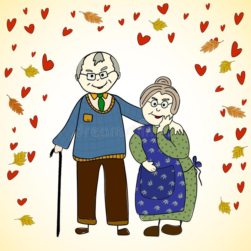 Elderly grandparents cuddle together against the background of leaves and hearts. Happy old age and love royalty free illustration