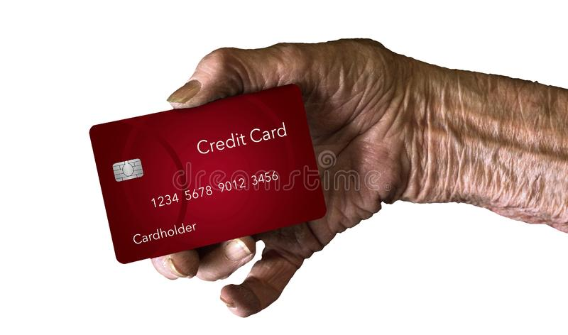 An elderly hand holds a credit card to illustrate the theme: Which credit card is best for older men and women. This is an illustration stock image